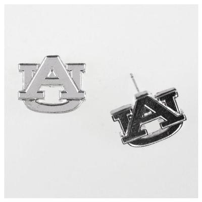 Auburn Silver Logo Post Earrings