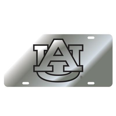 Auburn License Plate Silver/Black AU Logo