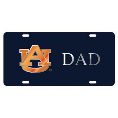 Auburn License Plate Navy/Silver AU Dad