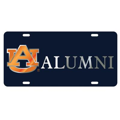 Auburn License Plate AU Alumni Navy with Silver Letters