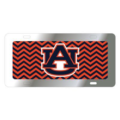 Auburn License Plate Navy/Orange Chevron with AU Logo