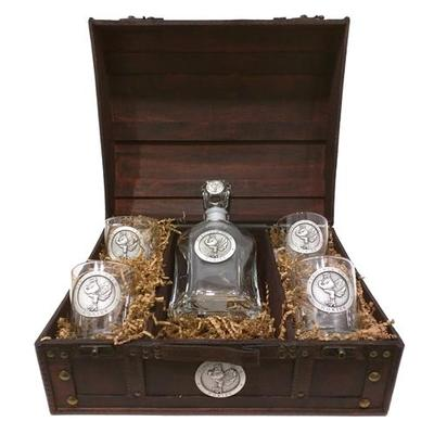 Virginia Tech Hokiebird Decanter Chest Set