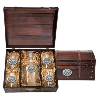 Virginia Tech Decanter Chest Set