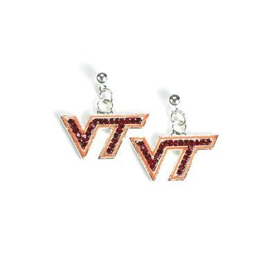 Virginia Tech Jewelry Rhinestone VT Earrings
