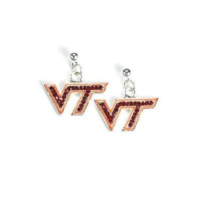Virginia Tech Jewelry Rhinestone VT Earrings