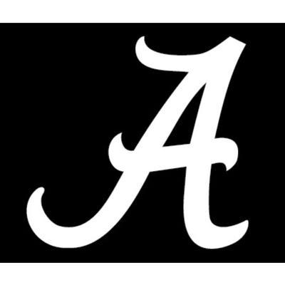 Alabama White Script A Decal 12