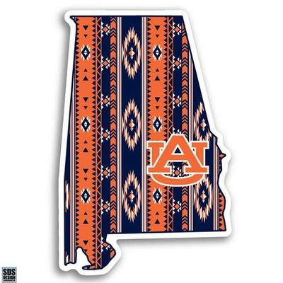 Auburn Decal Aztec State Outline 6