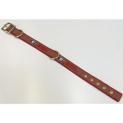 Georgia Embroidered Leather Dog Collar