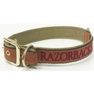Arkansas Embroidered Leather Dog Collar