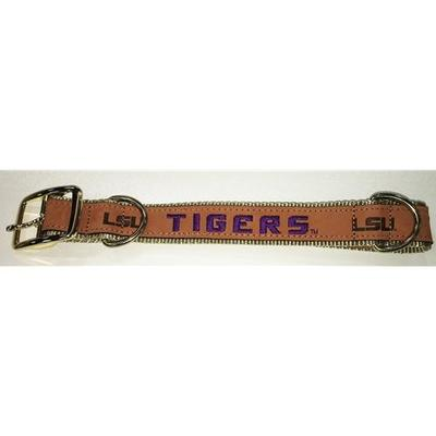 LSU Embroidered Leather Dog Collar