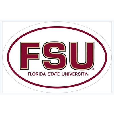 Florida State White Oval Decal 6