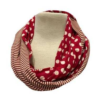 Garnet and Gold Dot Striped Infinity Scarf