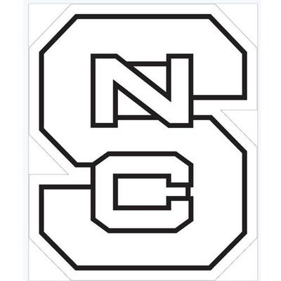 NC State Logo White Decal 6
