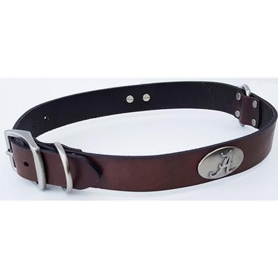 Alabama Concho Leather Dog Collar