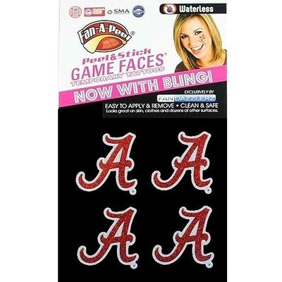 Alabama Script A Waterless Glitter Tattoos 4 Pack