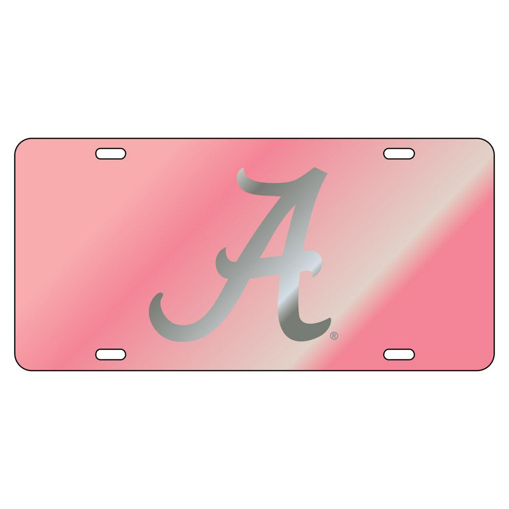 Alabama License Plate Pink/Silver Script A