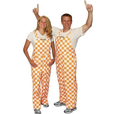 Tennessee Adult Game Bibs Checkerboard Overalls Org/Wht