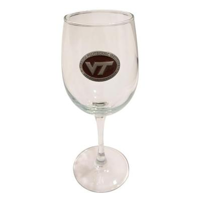 Virginia Tech Maroon Label Wine Glass