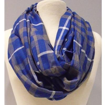 Blue, Grey and White Plaid Infinity Scarf