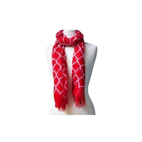 Red and White Quatrefoil Scarf