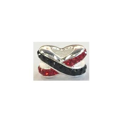 Black and Red Criss Cross Crystal Charm