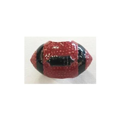 Cardinal and Black Football Bead