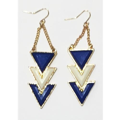 Blue And White Aztec Earrings