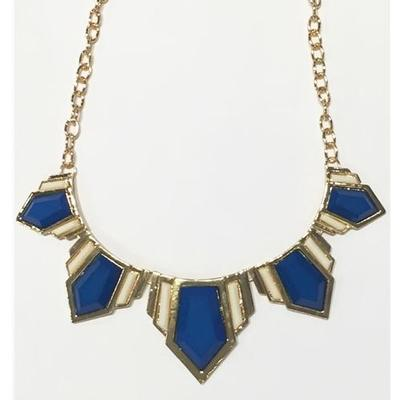 Blue and White Aztec Statement Necklace