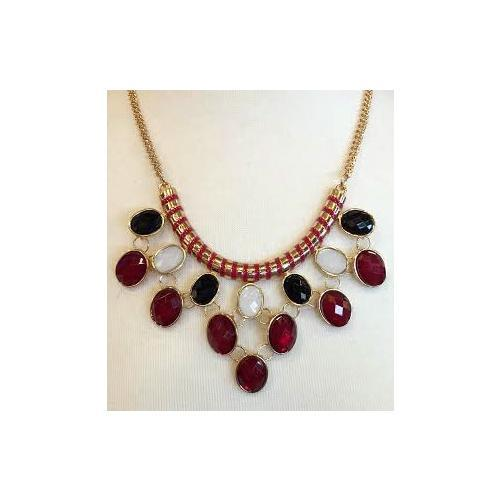 Cardinal And Black Droplet Statement Necklace