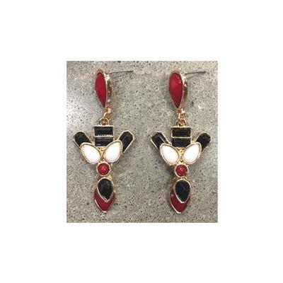 Cardinal and Black Heritage Earrings