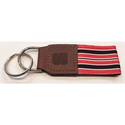 NC State Leather Ribbon Key Chain
