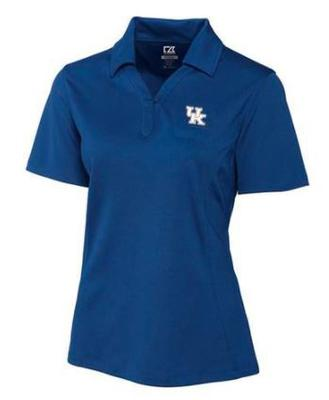 Kentucky Cutter and Buck Women's DryTec Genre UK Logo Polo TOUR_BLUE