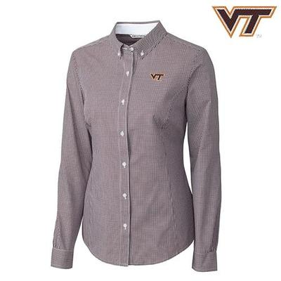 Virginia Tech Cutter and Buck Easy Care Gingham Button Down