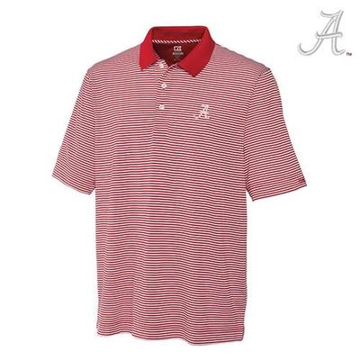 Alabama Cutter and Buck DryTec Trevor Stripe Polo