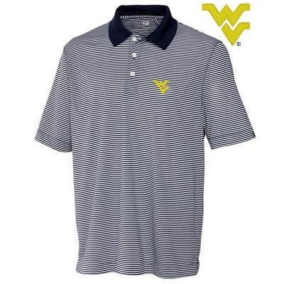 West Virginia Cutter & Buck DryTec Trevor Stripe Polo