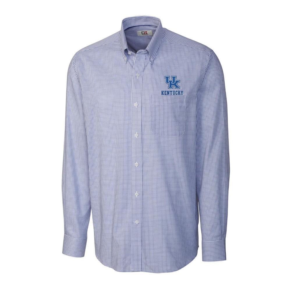 Kentucky Cutter & Buck Men's Tattersall Woven Dress Shirt