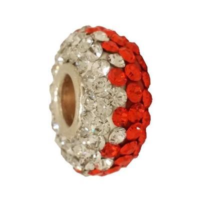 Orange & Clear Zig Zag Crystal Bead
