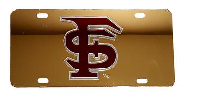 Florida State License Plate Gold With Garnet FS