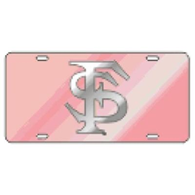 Florida State License Plate Pink With Silver FS