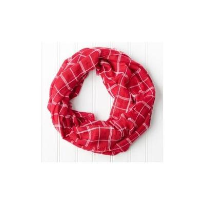 Crimson and White Beach Plaid Infinity Scarf