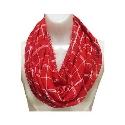 Red and White Beachy Plaid Infinity Scarf