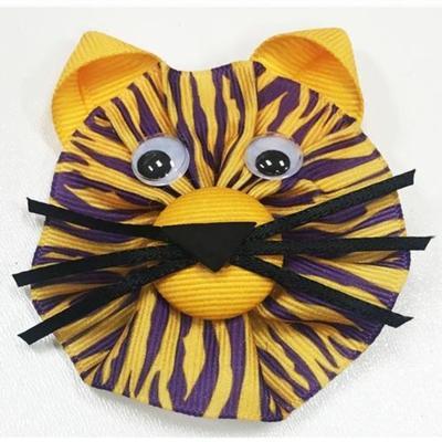LSU Tiger Face Clippie Hair Bow