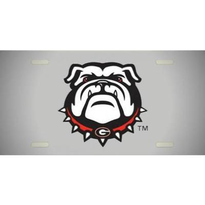 Georgia New Bulldog License Plate with Silver Mirror Background