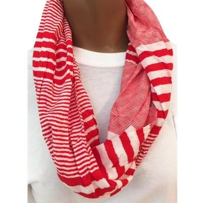 Red and White Watercolor Striped Infinity Scarf