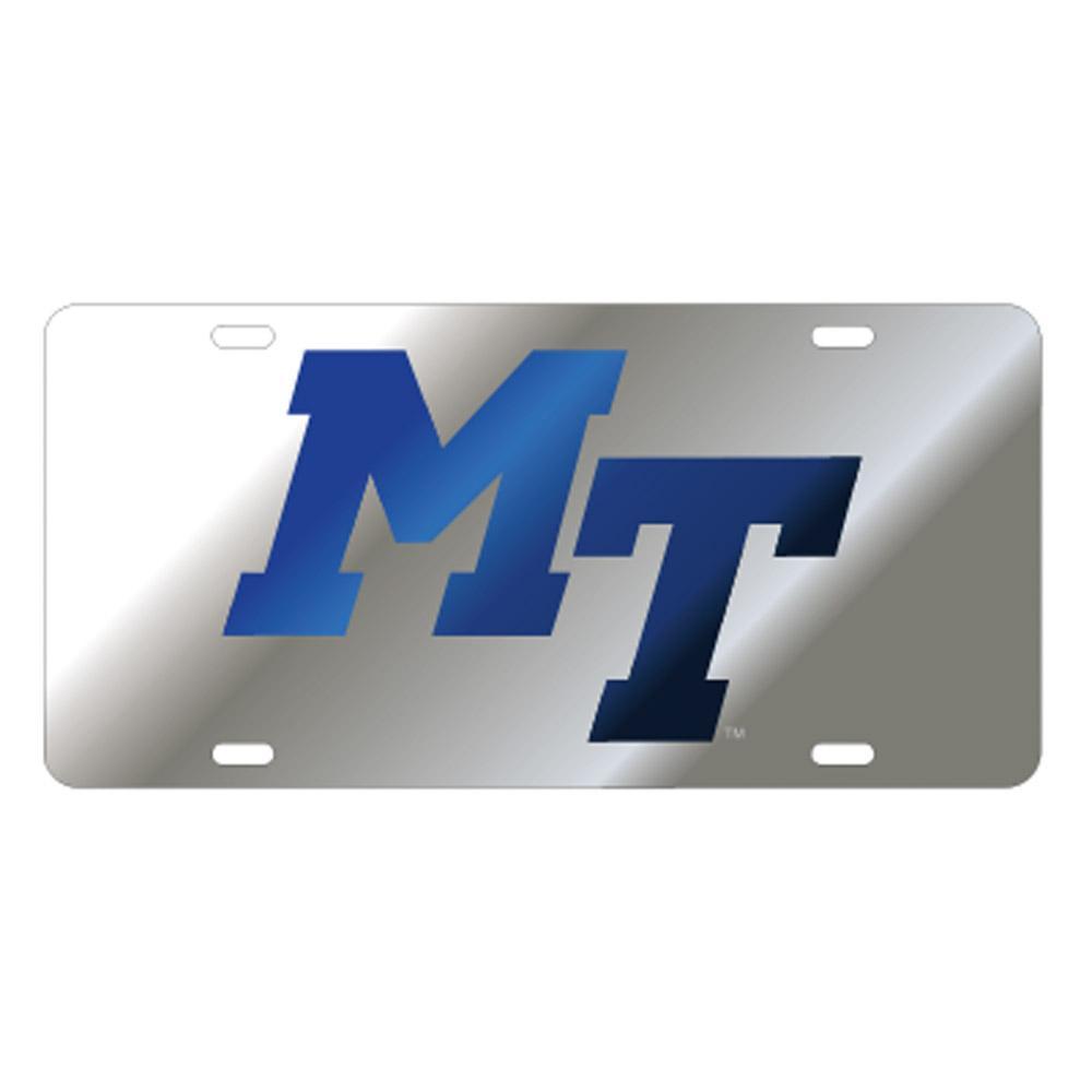 Mtsu License Plate Silver/Blue Mt Logo