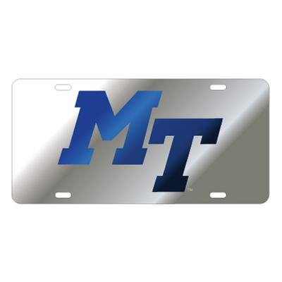MTSU License Plate Silver/Blue MT Logo