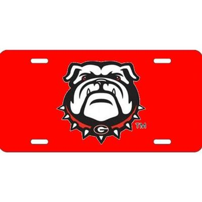 Georgia New Bulldog License Plate with Red  Background