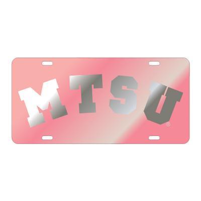 MTSU License Plate Pink with Silver MTSU