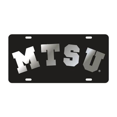 MTSU License Plate Black with Silver MTSU