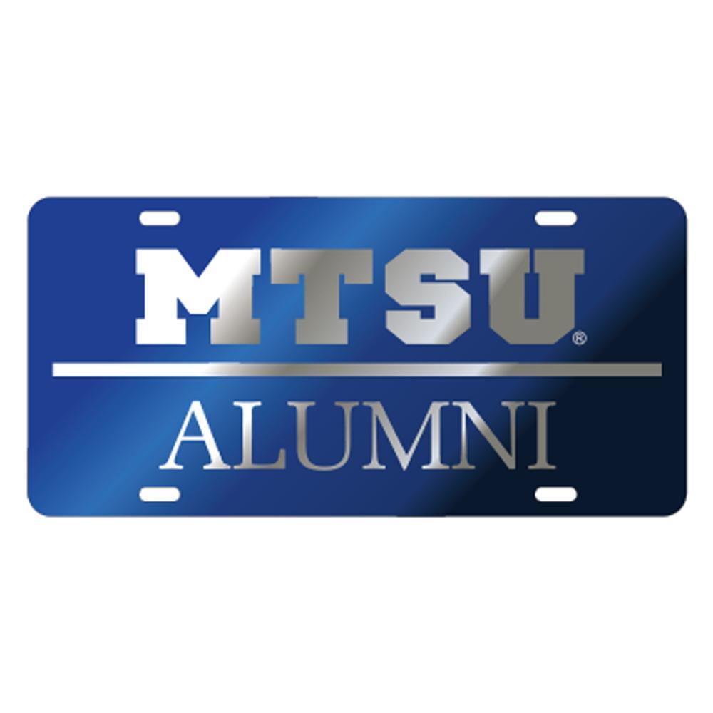 Mtsu License Plate Royal With Silver Mtsu Alumni